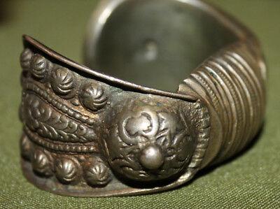 Antique Medieval Greek folk silver plated fertility bracelet 9