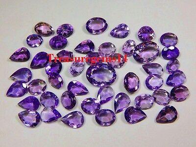 100 Ct Wholesale Lot Natural Brazilian Vvs Purple Amethyst Cut Faceted Cabochon