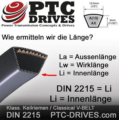 13x / A Keilriemen nach DIN 2215 von 1016 bis 5330 mm Länge (Li = Innenlänge) 3