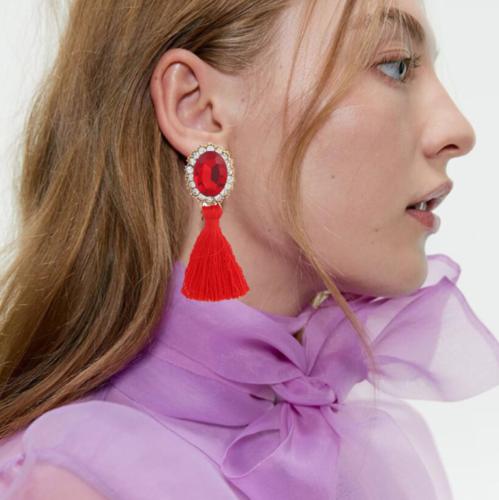 Fashion Women Ethnic Long Tassel Earrings Geometric Crystal Drop Dangle Earrings 2
