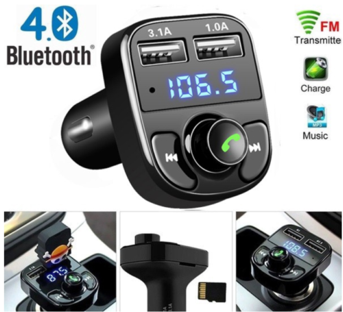 Bluetooth In-Car Wireless FM Transmitter MP3 Radio Adapter Car Dual USB Charger 6