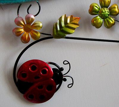 Red Ladybug  Welcome Sign Metal Metallic Colored Yard Art Garden Decor