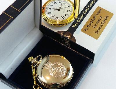 GOLD Plated AMBULANCE POCKET WATCH Paramedic St Johns Driver Gift Case 4