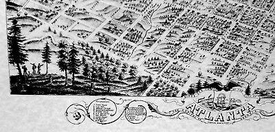 Historic Map Atlanta Georgia 1871 by A. RUGER Post Civil War AERIAL VIEW nice 4
