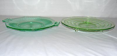"""Lot Set Of 2 Green Glass 11"""" Footed Plate Bowl 12"""" Plate With Handles Party Dish 5"""