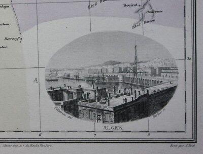 Original antique map NORTH AFRICA, ALGERIA & TUNISIA, ALGIERS, Migeon 1891