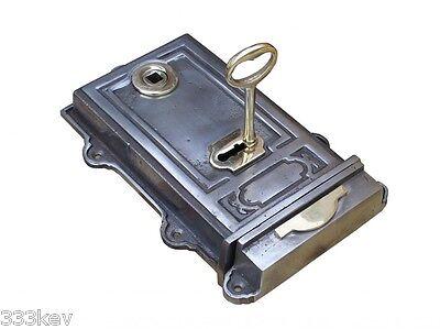 Victorian Style Davenport Cast Iron & Brass Rim Lock ~ Door knobs & Escutcheon 2