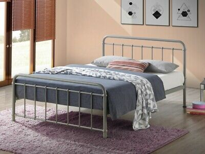 Miami Vintage Metal Bed Frame In Black Ivory Or Grey Finish Single Double King 3