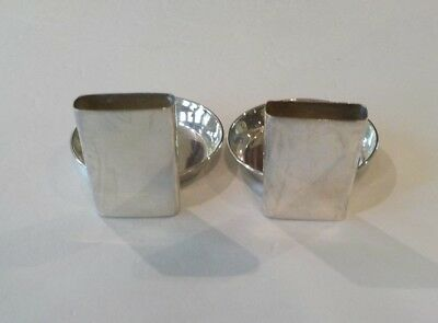 Pair Vintage Sterling Silver Individual Ashtrays with Match Holder 3