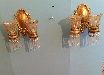 2 Unique Elegant Brass Sconces With Hanging Prisms Vintage Antique Wired 2