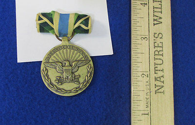 ARMED FORCES SERVICE Medal With Torch & Blue Greens Yellow Stripe Ribbon