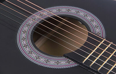 Electric Acoustic Guitar Cutaway Design With Guitar Case, Strap  Black New 5
