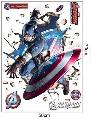 6 of 8 Captain America Marvel Avengers Wall Stickers Boys Kids Room Decal Super Hero  sc 1 st  PicClick UK & CAPTAIN AMERICA MARVEL Avengers Wall Stickers Boys Kids Room Decal ...
