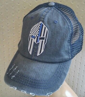e886c3aa63e ... Spartan Helmet Thin Blue Line Baseball Ball Cap USA Flag Cotton Mesh  Trucker Hat 6