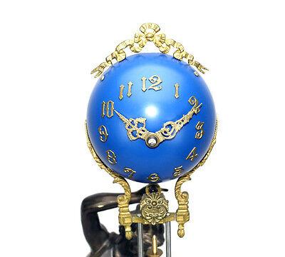 Beautiful Ansonia Cut 8 Day Movement Brass Fisher Lady Mystery Swinger Clock 4