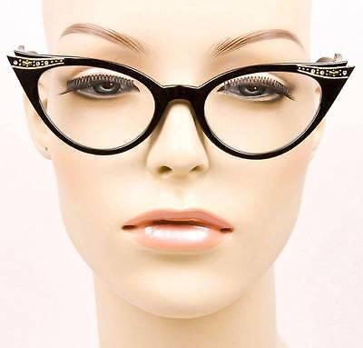 50s Vintage Cat Eye Pin Up Girl Crystals Rhinestones Eyeglasses