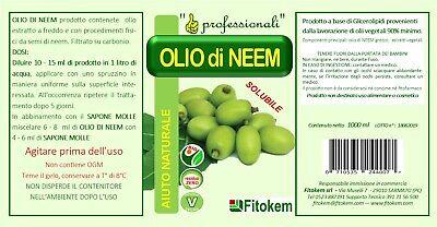 OLIO DI NEEM biologico per piante contro insetti e parassiti 1 litro - Fitokem 3