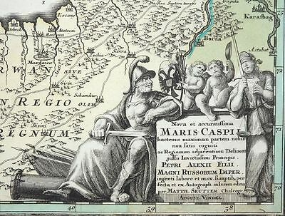 Nova Et Accuratissima Maris Caspii Kaspisches Meer Karte Seutter Altkolorit 1720
