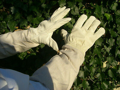 Beekeeping gloves - White leather SMALL