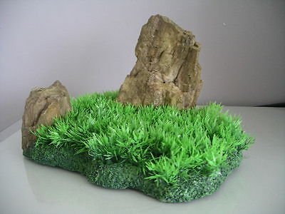 Aquarium Realistic  Large Rock Formation  with Grass Theme 27 x 18 x 16 cms 4