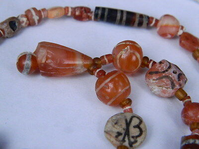 Ancient Etch Carnelian Beads Strand Roman 200 BC #BD15043 5