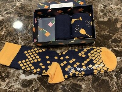 New VEUVE CLICQUOT VCP Happy Socks 3 PAIR Set LIMITED EDITION RARE SIZE 8-12 6