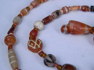 Ancient Etch Carnelian Beads Strand Roman 200 BC #BD15043 4