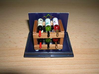 Dollhouse Miniature Reutter Wood Wine Rack /& Bottles Set