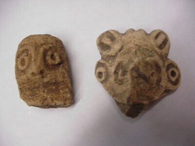 Pair Of Ancient Aztec ? Pre ? Mexican ? Columbia, Myan Pottery Figures Two Pcs. 6