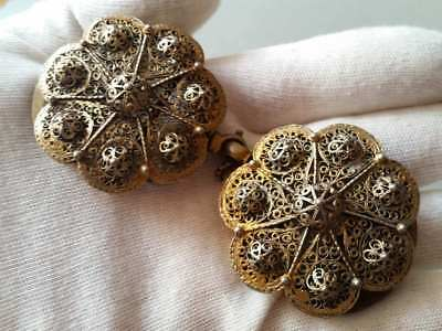SUPERB ANTIQUE OTTOMAN GOLD PLATED hand-knitted SILVER filigree belt buckle XIXc 3