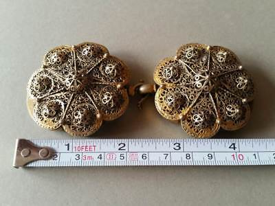 SUPERB ANTIQUE OTTOMAN GOLD PLATED hand-knitted SILVER filigree belt buckle XIXc 10