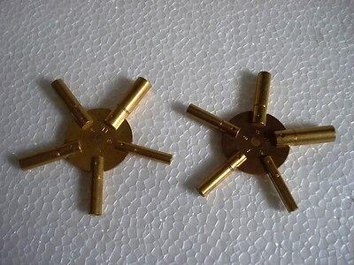 Universal Brass Clock/Watch Key Set, Odd & Even Sizes 2
