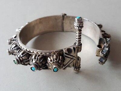 GORGEOUS ANTIQUE Ottoman SILVER filigree Bracelet with semi precious stones XIXc 10