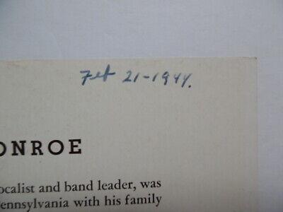 1944 VAUGHN MONROE Signed Inscribed Photo Bandleader Singer Radio Star Vintage 4