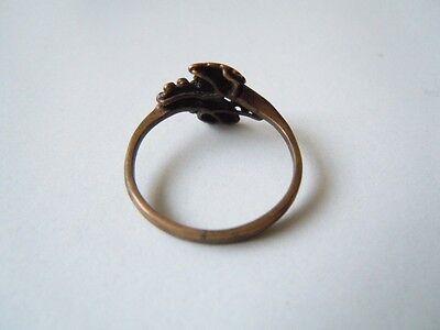 Zierlicher Messing Ring mit Blattverzierung RG 54 / 1,3 g