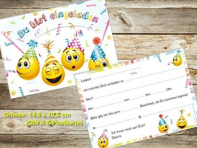Lustige Smiley-Einladungskarten Kindergeburtstag, Geburtstagseinladungen Kinder 3