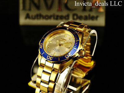 Invicta Mens 40mm Pro Diver Champagne Dial 18K Gold Plated Stainless Steel Watch 6