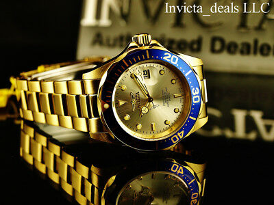 Invicta Mens 40mm Pro Diver Champagne Dial 18K Gold Plated Stainless Steel Watch 11