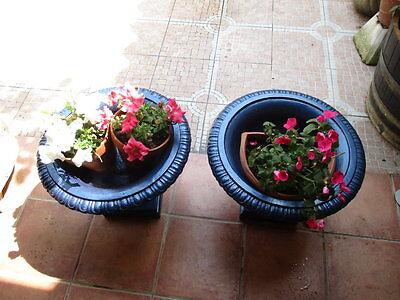 Jardineras De Hierro Fundido Antiguas Restauradas En Color Azul / Antique Fused 5