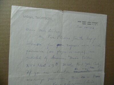 1954 Composer VIRGIL THOMSON Autograph Letter Signed from Chelsea Hotel Original 2