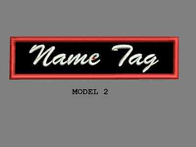 """Custom Embroidered 4"""" x 1"""" Name Tag Patch Motorcycle Biker Iron on/sew on Script 2"""