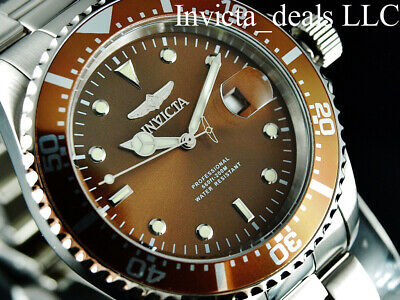 Invicta Men's 43mm Pro Diver SUBMARINER Brown Dial Silver Tone 200m SS Watch 7