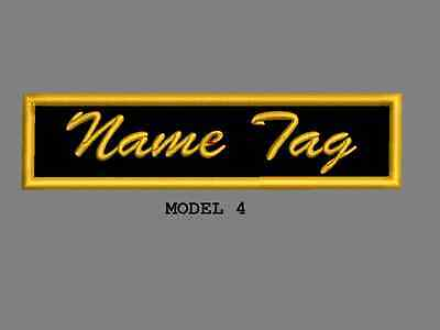 """Custom Embroidered 4"""" x 1"""" Name Tag Patch Motorcycle Biker Iron on/sew on Script 4"""