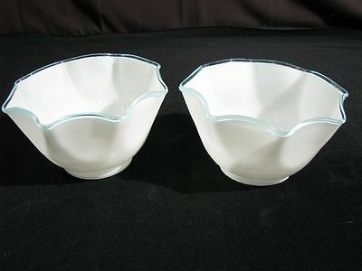 "Pair Hand-Blown Opaque White Gas Light Shades with Teal Border 3 3/8"" X 8"" 2"