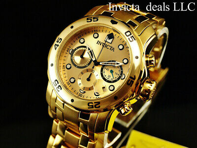 Invicta Men's 48mm PRO DIVER Scuba Chronograph Gold Dial 18K Gold Plated Watch 10