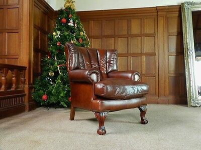 Tetrad Blake Antique Brown Leather Chesterfield Suite 2/3 Seater Sofa & Armchair 7