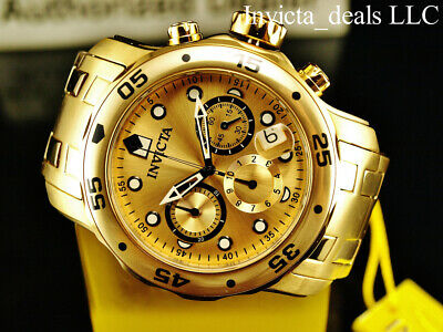 Invicta Men's 48mm PRO DIVER Scuba Chronograph Gold Dial 18K Gold Plated Watch 9