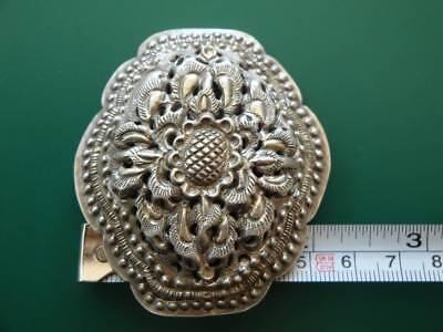 ANTIQUE ORIGINAL Balkan OTTOMAN lace forged engraved silver brooch decorat XIXc 8