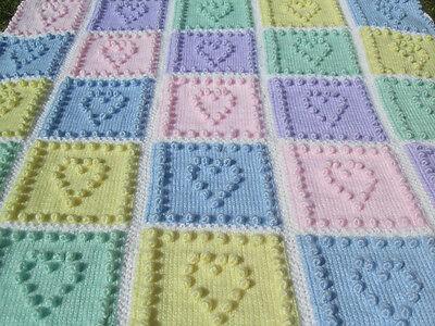Knitting Pattern For Baby Blanket Heart Squares Bobble Plain