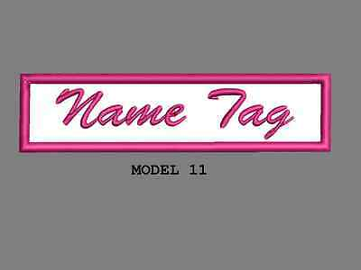 """Custom Embroidered 4"""" x 1"""" Name Tag Patch Motorcycle Biker Iron on/sew on Script 11"""